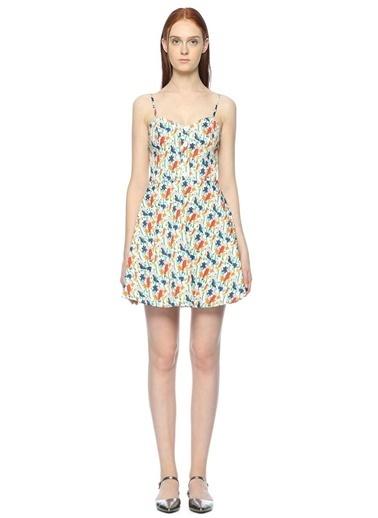 Alice+Olivia Askılı Kuş Desenli Mini Elbise Renkli